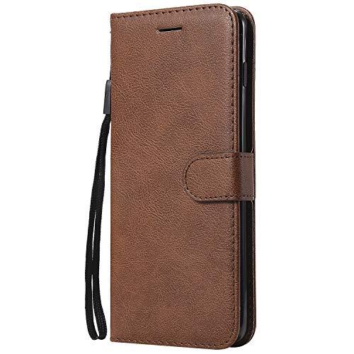 Hoesje voor Samsung Galaxy S10+ (S10 Plus) Wallet Book Case, Magneet Flip Wallet Slim Beschermende Telefoonhoes met Kaarthouders slots Robuuste schokbestendige Bookcase voor Galaxy S10+ (S10Plus) - JEKT050590 bruin
