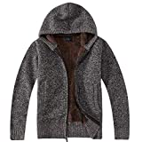 Gioberti Boy's Full Zip Knitted Cardigan Sweater with Hoody and Sherpa Lining, Melange Coffee, Size 6
