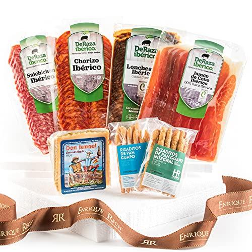 Cesta Gourmet Regalo - Lote Embutidos Gourmet - Embutidos Ibericos, Queso y Rizaditos de Pan Guapo - Pack Gourmet Caja Regalo para Picoteo