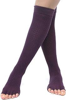 SGJFZD 3pairs/Set Autumn and Winter Models Non-Slip Finger Socks High-Heeled Yoga Socks Women's Knees Five-Toe Socks Dance Yoga Socks, Color Randomly Sent (Color : Purple)