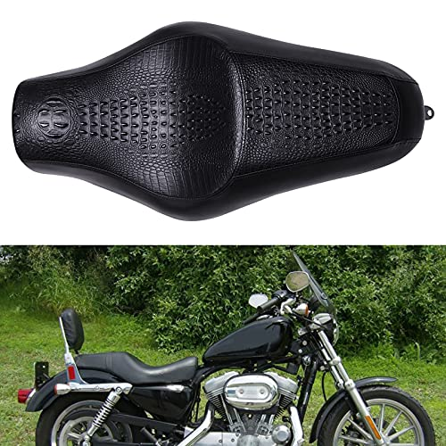 Brown Crocodile Leather Motorcycle Front Driver Rear Passenger Two Up Leather Seat Cushion for Seventy-two XL1200V Sportster 883 Iron 883