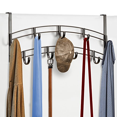 Lynk Over Door 9 Hook Rack Shirt, Belt, Hat, Coat, Towel Organizer, Bronze