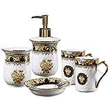 Juegos de Accesorios de baño Accesorios de baño, 5 Piezas de cerámica Retro Accesorios Set Incluye dispensador de jabón Barra Jabonera Vaso Cepillo de Dientes Titular para encimeras Decorativas