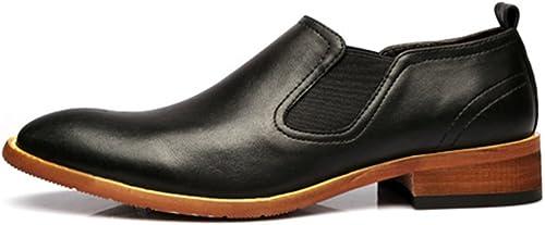 XIANGBAO-Personality Chaussures à Enfiler décontractées pour Hommes Simples, Double Plaque Souple, Cuir véritable, Bas, Semelle extérieure, Oxfords (Couleur   Noir, Taille   CN25.5)