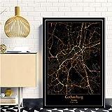 AGAGRG Bild Auf Leinwand,Nordeuropa Schwarz Golden