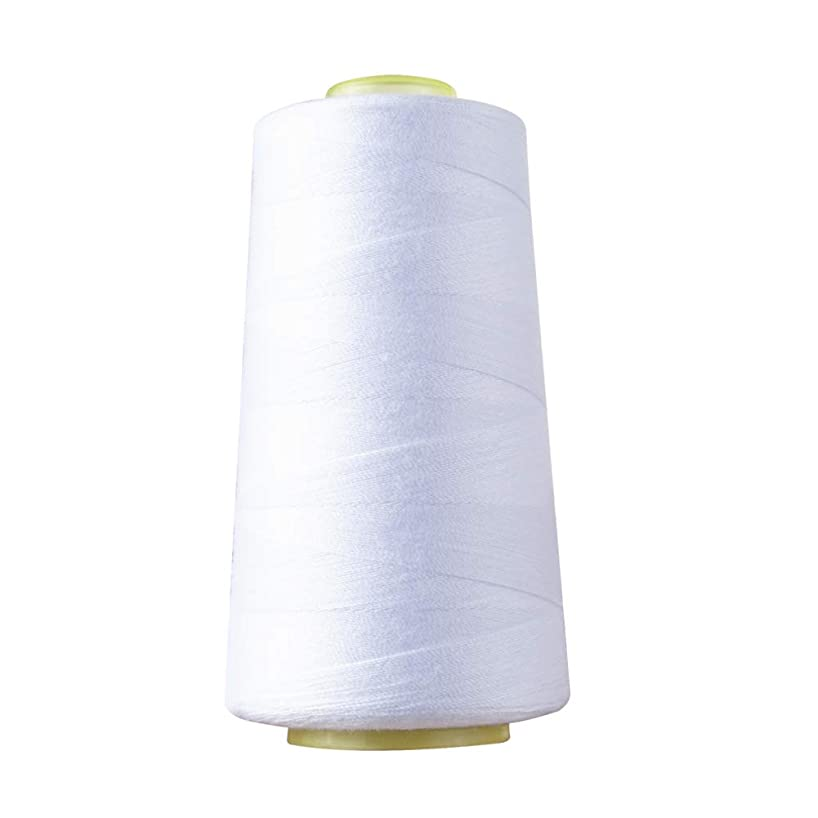 20S/2 All Purpose Sewing Thread Spun Polyester Overlock Cone 1500 Yards Sewing Thread for Quilting, Dress Making, General Stitching Machines and Handmade Project White