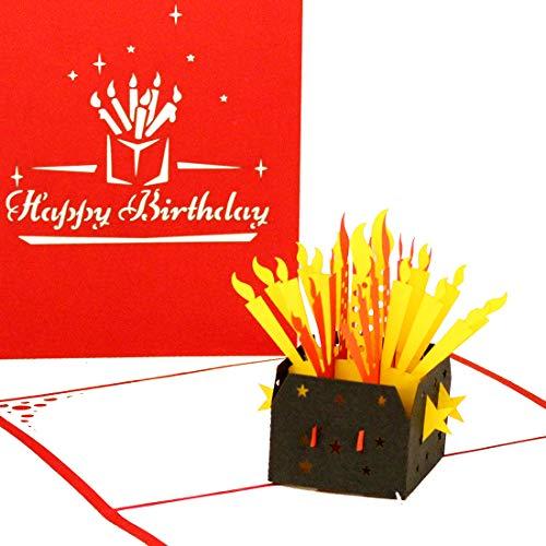 3D Card'Birthday Candles - Happy Birthday' – 3D Greeting & Congratulations Cards as little gift, voucher & packaging - Pop Up Geburtskarte Englisch