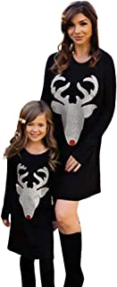 kingfansion Women Elk Print Christmas Mini Dress Mom&Me Girls Dresses Family Outfits