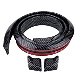 Qiilu 1.5 m Bande Protecteur pour Pare-chocs en Fibre de carbone caoutchouc souple arrière de voiture Toit tronc Spoiler Aile à lèvres Autocollant