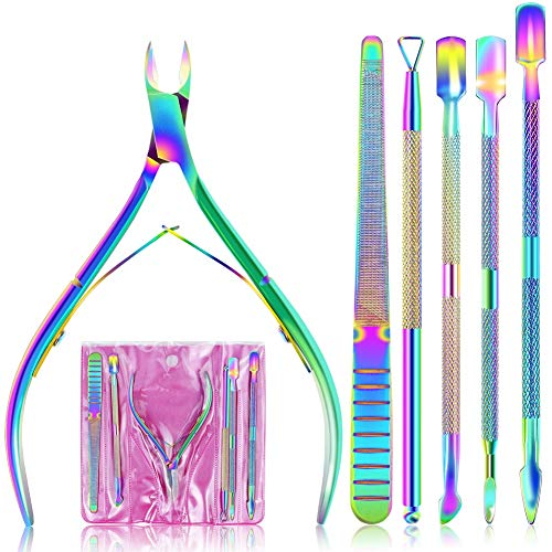 EAONE Cuticle Nipper and Pusher Set Nail Nippers Stainless Steel Cuticle Trimmer Cutter Dead Skin Remover for Women Girls Toenails and Fingernails Care, 6 Pieces, Colorful