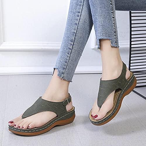 Sandalen Flip Flops Mode Flache,Sandalen mit flachem Absatz, große, einfarbig bestickte Flip-Flops-Damensandalen - dunkelgrün_42