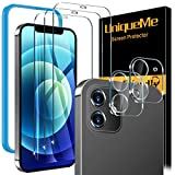 [5 Pack]    UniqueMe screen protector compatible with iPhone 12 6.1 [Not for iPhone 12 Pro], Pack of 3 Clear Tempered Glasses and 2 Packs of Camera Lens Protectors,[Installation Frame][Precise Cutout]