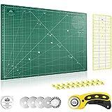 Lange & König Kit de Cuter Rotativo incluye Base de Corte, Cortador Rotativo, 5 Cuchillas de Repuesto, Regla de Patchwork + 20 Pinzas Costura como Accesorios de Costura (Verde, A2)