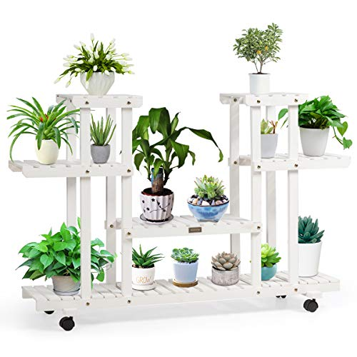 Giantex Rolling Flower Rack Wood Plant Stand on Wheels 6 Wood Shelves 12 Pots Bonsai Display Shelf Indoor Outdoor Yard Garden Patio Balcony Living Room Storage Rack Bookshelf Hollow Shelves (White)