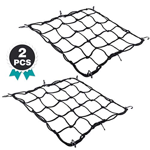 Black ATVs Qudi Cargo Net 15X15 with 6 Adjustable Hooks /& Tight 3x3 Mesh for for Motorcycles Stretches to 30