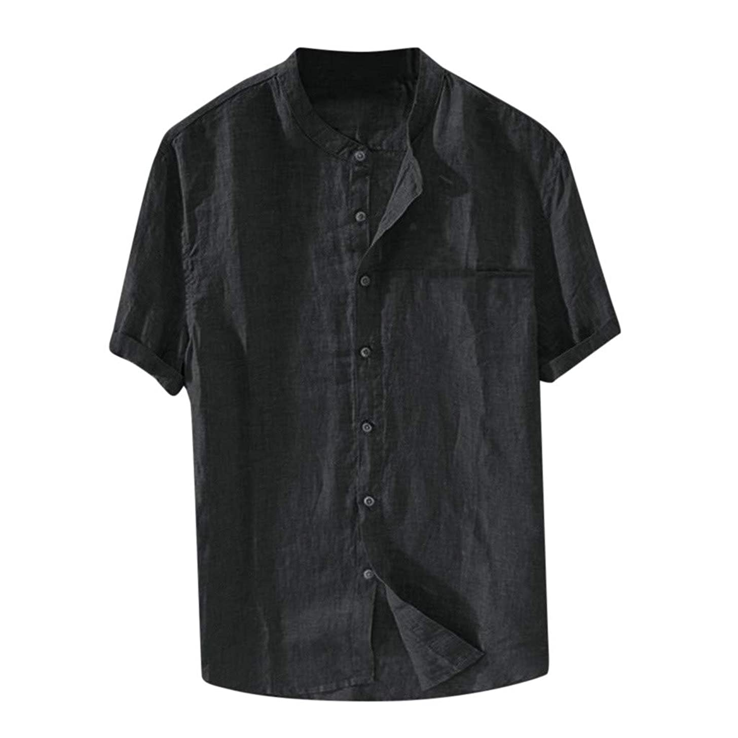 Nuewofally Mens Casual Striped Long Sleeve Shirt Crew Mandarin Collar Henley Shirts Button Up Baggy Cotton Linen Blouse (Black,S)