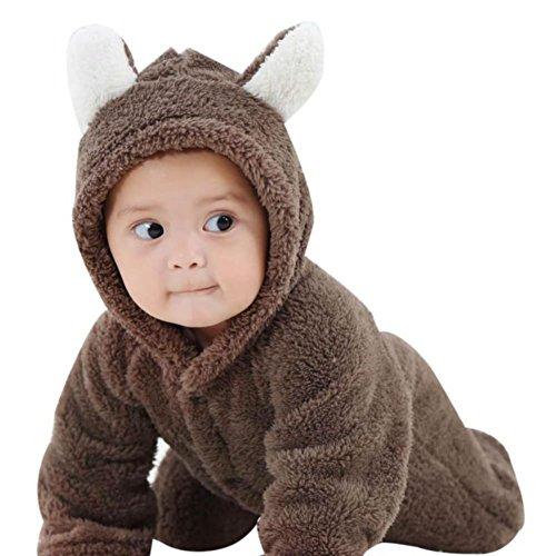 Hankyky Baby Bär Stil Strampler, Baby Mädchen Junge Spielanzug Flanell Baumwolle Winter Overall Tier Kostüme Hooded Bekleidung Outfits 0-12 Monate