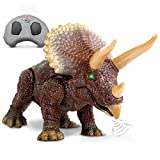 "Discovery Kids RC Triceratops, LED Infrared Remote Control Dinosaur, Built-in Speakers W/ Digital Sound Effects, 8.75"" Long, Includes Glowing Eyes, Life-Like Motion, A Great Toy for Girls/Boy, Orange"