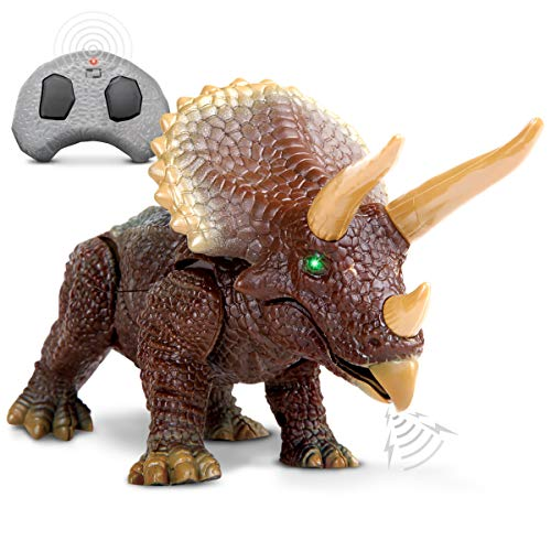 Discovery Kids RC Triceratops, LED Infrared Remote Control Dinosaur, Built-in Speakers W/ Digital Sound Effects, 8.75 Long, Includes Glowing Eyes, Life-Like Motion, A Great Toy for Girls/Boy, Orange