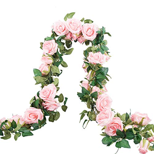 Meiliy 2 Pack 6.6 FT Fake Rose Vine Flowers Plants Artificial Flower Home Hotel Office Wedding Party Garden Craft Art Decor (Blush Pink Rose Garland 2 PCS)…