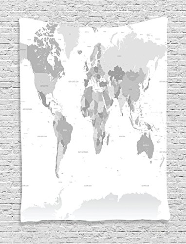 "Ambesonne Grey Tapestry, Detailed World Map with All Countries Major Capital Cities Universe Earth Continents, Wall Hanging for Bedroom Living Room Dorm, 60"" X 80"", Grey White"