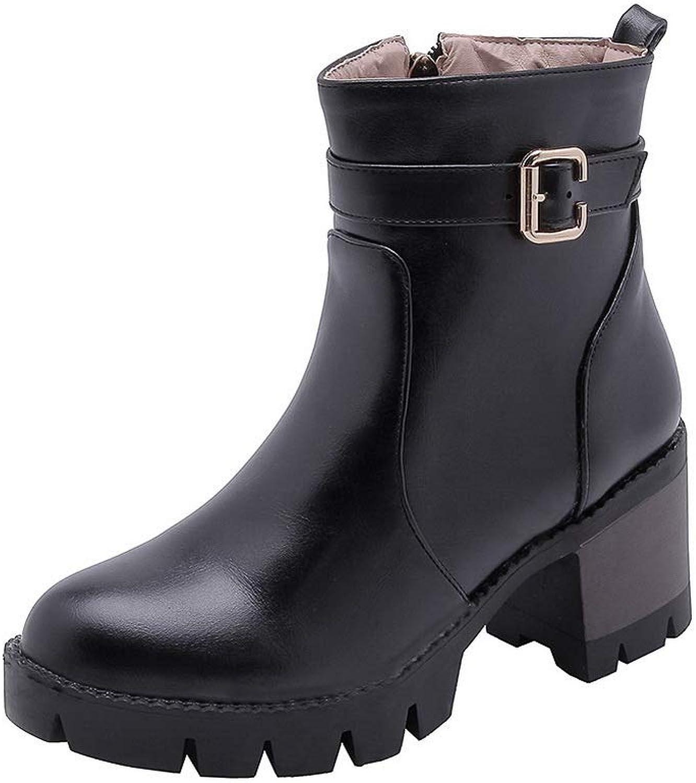 AN Womens Chunky Heels Platform Metal Buckles Urethane Boots DKU02095