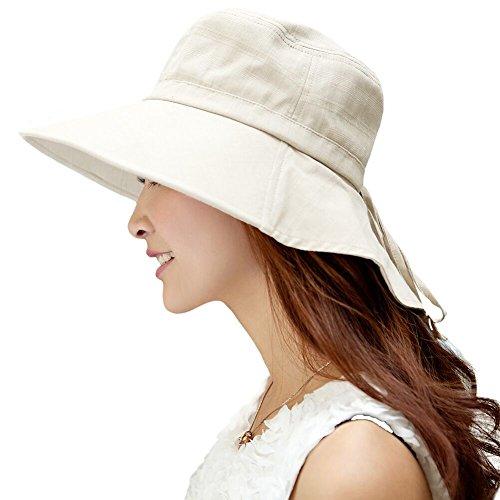 Comhats Mujer Sol Verano Algodón Sombrero De ala Ancha Tapa Abatible UPF 50 + Barbilla Manera Gorro Beige M