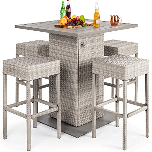 Best Choice Products 5-Piece Outdoor Wicker Bar Table Set for Patio, Poolside, Backyard w/Built-in Bottle Opener, Hidden Storage Shelf, Metal Tabletop, 4 Stools - Gray