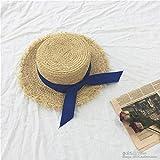 Sombrero De Playa para Verano Bowknot Cinta De Paja Sombreros para El Sol para Mujer Playa Moda Sombrero para El Sol ala Ancha Plegable Panamá ala Ancha Sombrero 56-58Cm 3