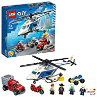 LEGO 60243 City Police Helicopter Chase Toy with ATV Quad Bike, Motorbike and Truck, Building Set fo...
