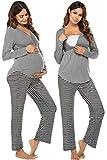 Ekouaer Nursing PJ Hospital Delivery Labor Maternity Pregnancy Soft Breastfeeding Pajamas Sleepwear Pant Set (Mid Grey Textile L)