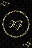 HJ: Golden Monogrammed Letters, Executive Personalized Journal With Two Letters Initials, Designer Professional Cover, Perfect Unique Gift