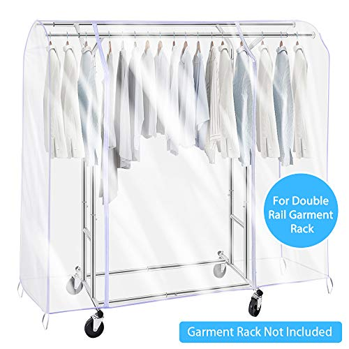 SIWUTIAO Garment Rack Cover,6Ft Transparent PEVA Clothing Rack Cover ONLY, Clear Clothes dustproof Waterproof Cover