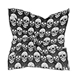 Women's Graphic Print Premium Silk, Gothic Skull Silk Scarf Square, 24X24 Inches