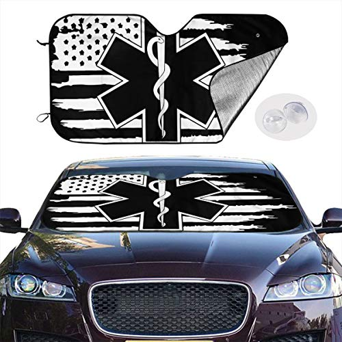 "YVONNE WIDLAN Windshield Sun Shade EMS Star of Life Car Windshield, Sun Shade to Keep Vehicle Cool Protect Your Car from Sun Heat & Glare Best UV Ray Visor Protector (Size: 51""X 28"")"