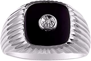 RYLOS Designer Ring With Halo Diamond Centered in Genuine Black Onyx Set in Sterling Silver .925 Sizes 8-13