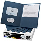 FILE-EZ Two-Pocket Folders, Dark Blue, 25-Pack, Textured Paper, Letter Size (EZ-32523)