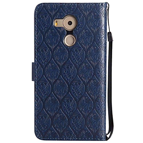 pinlu® PU Leder Tasche Handyhülle Für Huawei Ascend Mate 8 (6zoll) Smartphone Wallet Hülle Mit Standfunktion und Kartenfach Design Rattan Blume Prägung Dunkelblau - 2