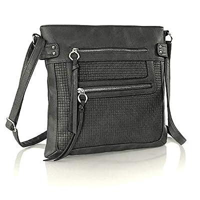 Boho Messenger Vegan Leather Crossbody Bag Multi Pocket Purse with Zipper & Long Strap Large (Navy Blue Woven Texture Design)