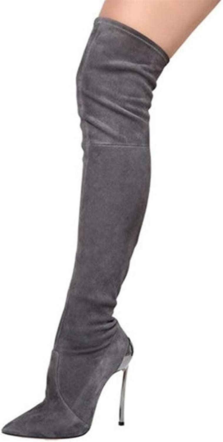 GEORPE Over The Knee Boots Stretch Faux Suede Slim Thigh High Boots Fashion High Heels shoes