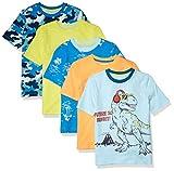 Amazon Essentials Short-Sleeve T-Shirts Fashion, Lot de 5-Camouflage Bleu, 6-7 Ans
