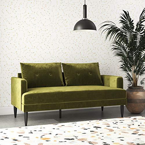 Novogratz Bailey Pillowback Loveseat, Mid-Century Modern Vintage Living Room Furniture, Olive Green Velvet
