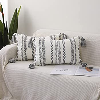 SEEKSEE Set of 2 Boho Lumbar Decorative Throw Pillow Covers for Sofa Bed Bedroom and Living Room Tufted Tasseled Throw Pillow Covers  Grey 12x20 inch