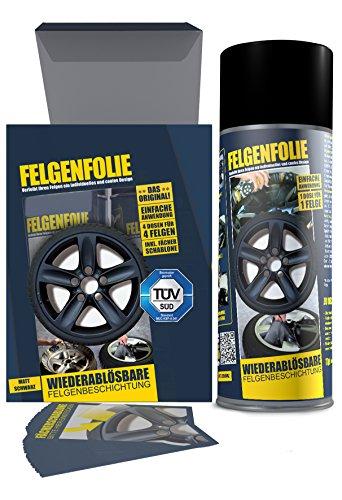 mibenco 61001103 Felgenfolie Set, 4 x 400 ml, Schwarz Matt