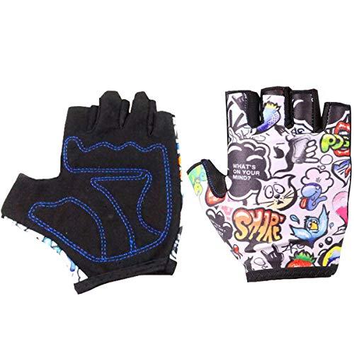 LT Kinder Fahrradhandschuhe Bike Handschuh Jungen Fahrrad Handschuhe Mädchen radhandschuhe Scooter radhandschuhe Kinder Tretroller Handschuhe Halb Finger Handschuhe für Kinder