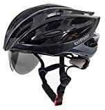 Tommaso Sole Lightweight Cycling Helmet Retractable Eye Shield Road & MTB Adjustable Fit 2 Sizes 4 Colors Black,Matte Black,White,Titanium Certified Protection - Gloss Black - S/M