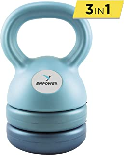Empower Kettlebell Weight Set for Women, Adjustable Kettlebells 5 lbs, 8 lbs, 12 lbs, 3-in-1 Kettlebell Set