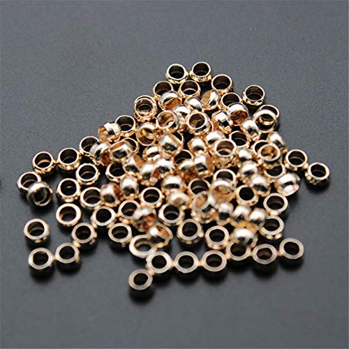 EKimmer 4 6 8 10 Mm Metal Pure Copper Spacer Beads Color Flat Round Loose Beads For Jewelry Bracelet Making DIY rose gold 2mm hole 1.2mm