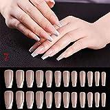 20/24pcs/Set Long Coffin Fake Nails European Rainbow Ballerina Full Nail Art Tips Colorful Beauty Artificial False Nails,24pcs 07,China