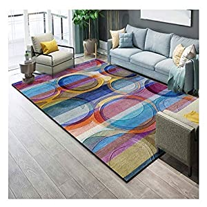 LHHlucky Rug Easy to Clean Carpet Anti-Slip Multi-Functional Short Pile Soft Modern Abstract Area Comfortable Bedroom Carpet Various Patterns Optional (Color : C, Size : 100x160cm(3.2×5.2ft))
